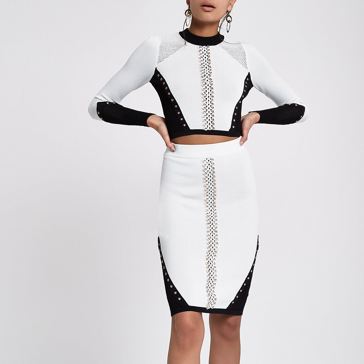 White blocked lace eyelet trim knit skirt