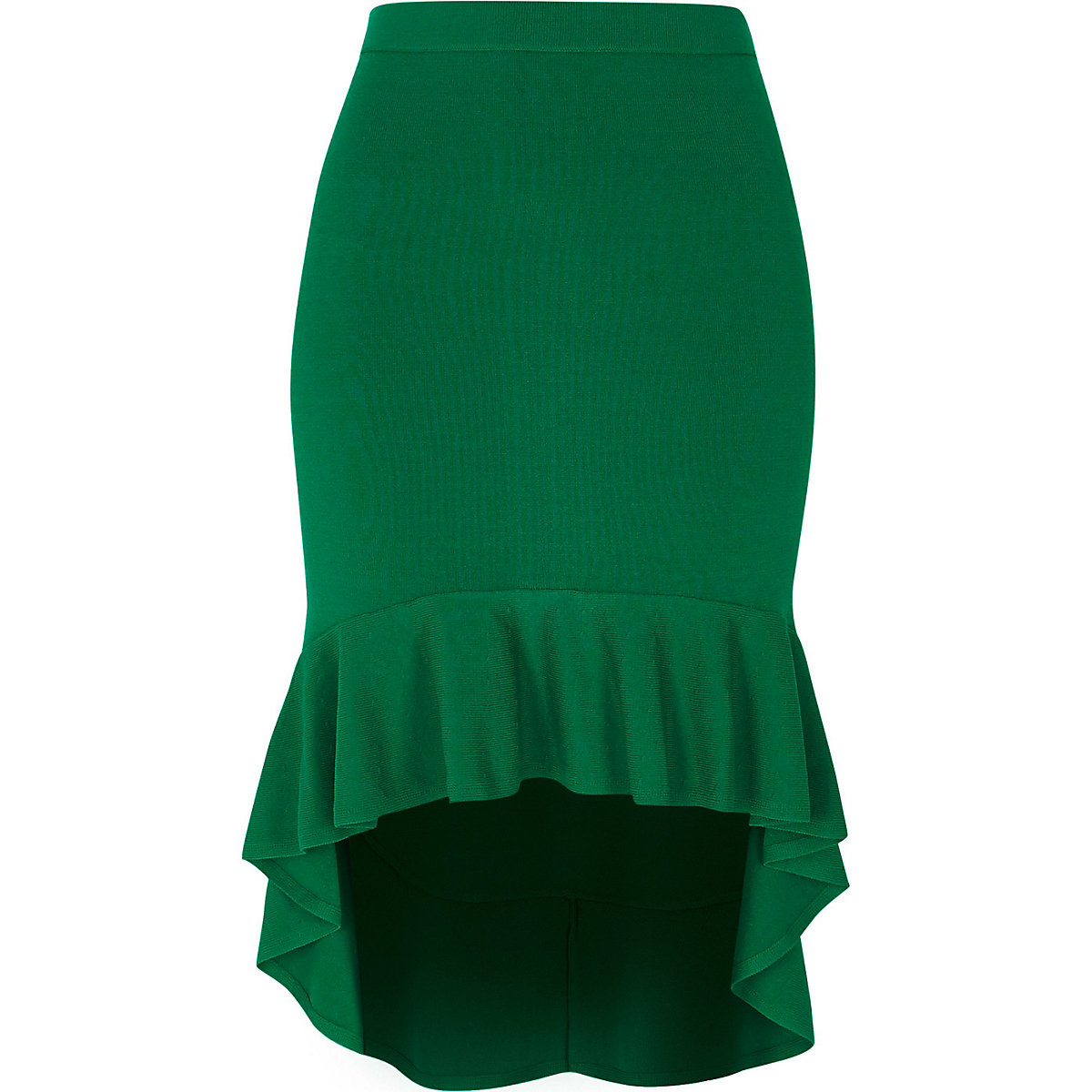 Green knit frill hem pencil skirt