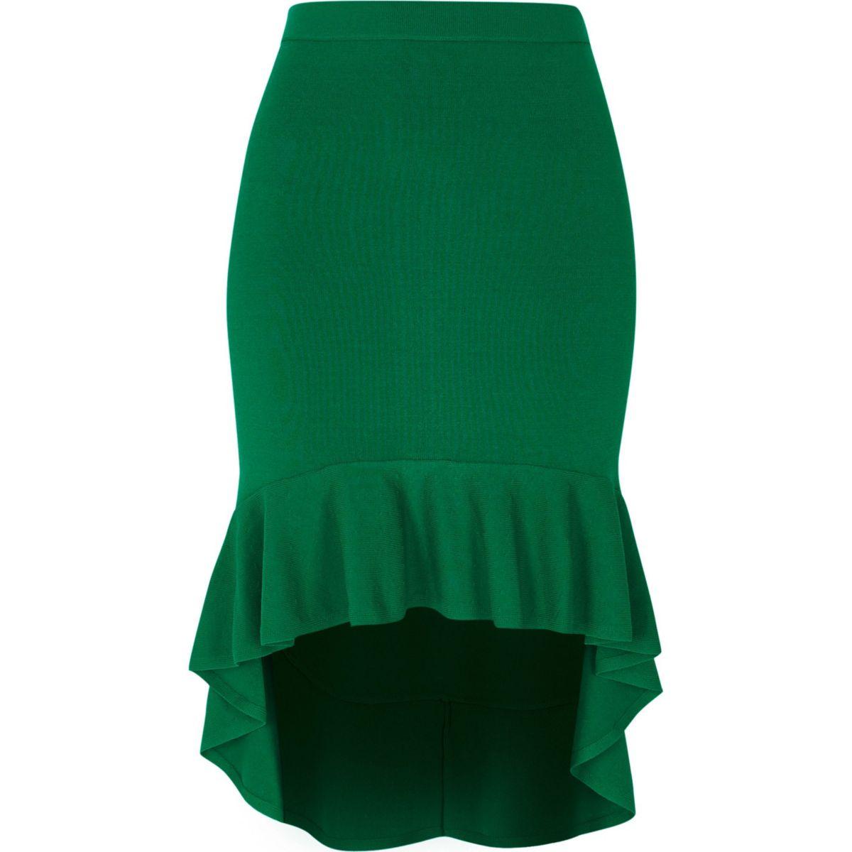 Green knit frill hem pencil skirt