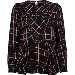 Navy check frill studded peplum blouse