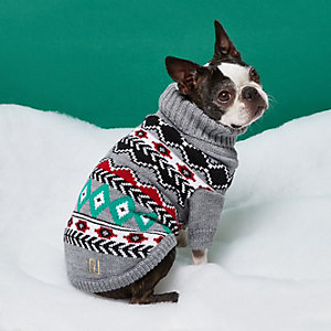 Grey RI Dog Fairisle Christmas sweater
