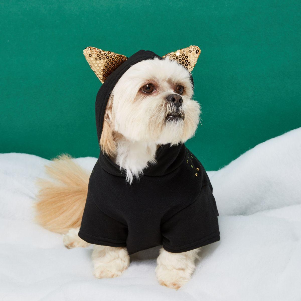 RI Dog – Schwarzer, paillettenverzierter Hoodie