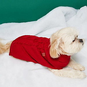 RI Dog – Roter Pullover mit Zopfmuster