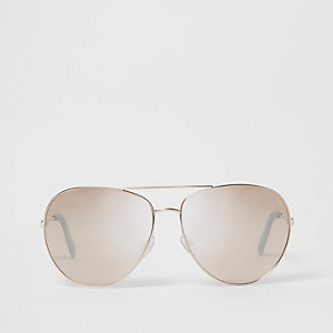 Gold tone aviator mirror lens sunglasses