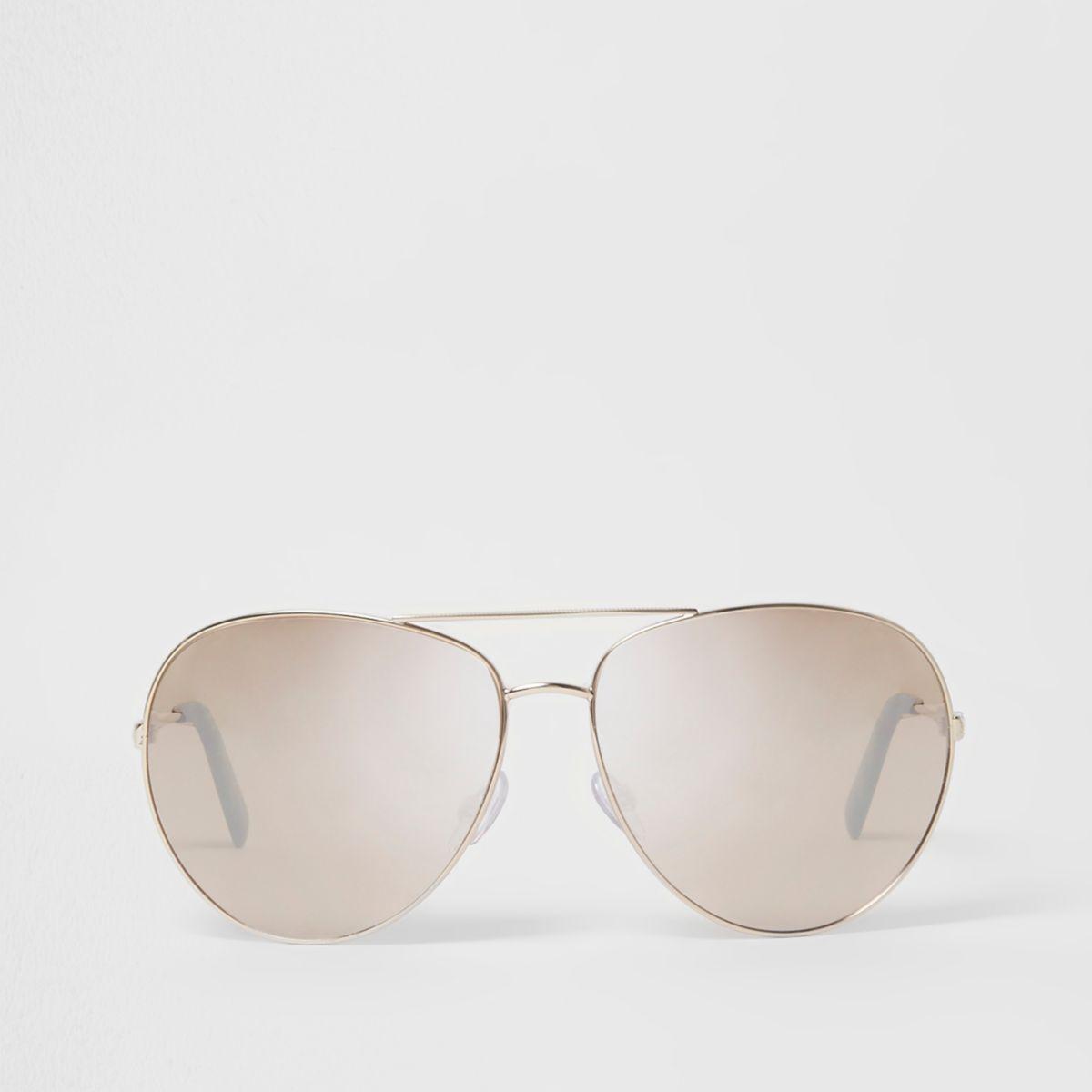 Gold tone aviator mirror lens sunglasses