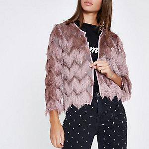 Pink three quarter sleeve fringe short jacket