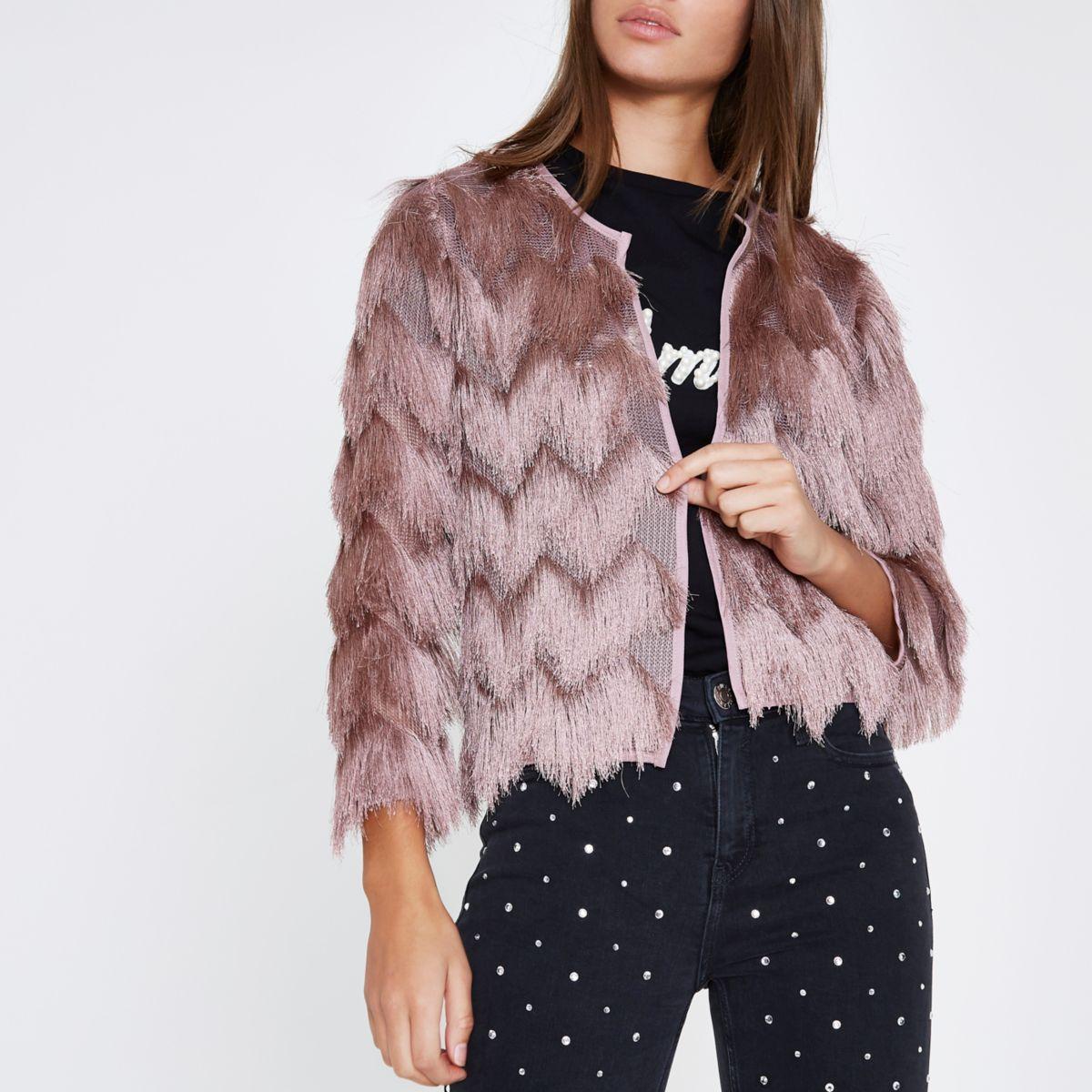 pink three quarter sleeve fringe short jacket jackets coats jackets women. Black Bedroom Furniture Sets. Home Design Ideas