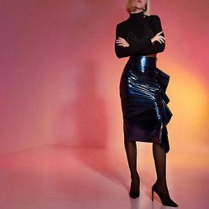 Dark blue RI Studio frill vinyl pencil skirt