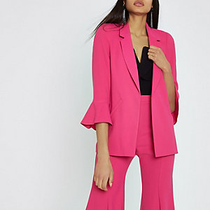 Bright pink frill sleeve blazer