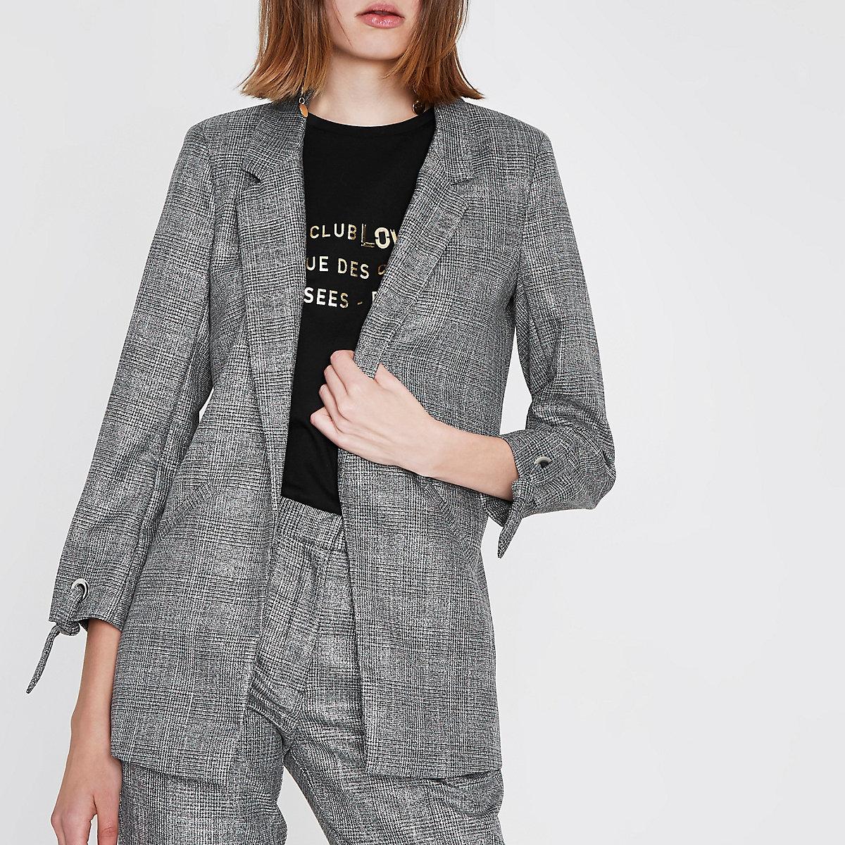 Grey check eyelet tie cuff blazer