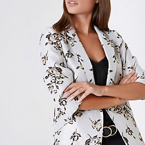 White and gold floral jacquard blazer