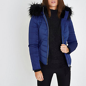 Blue padded faux fur trim hooded jacket