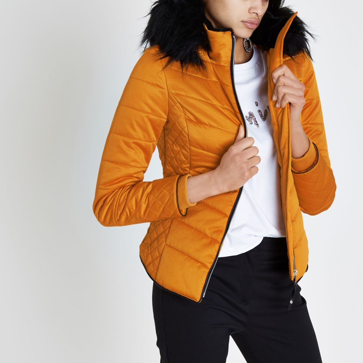 Yellow quilted panel puffer jacket