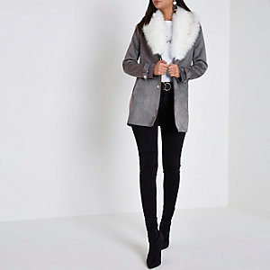 Grey faux fur collar shawl coat
