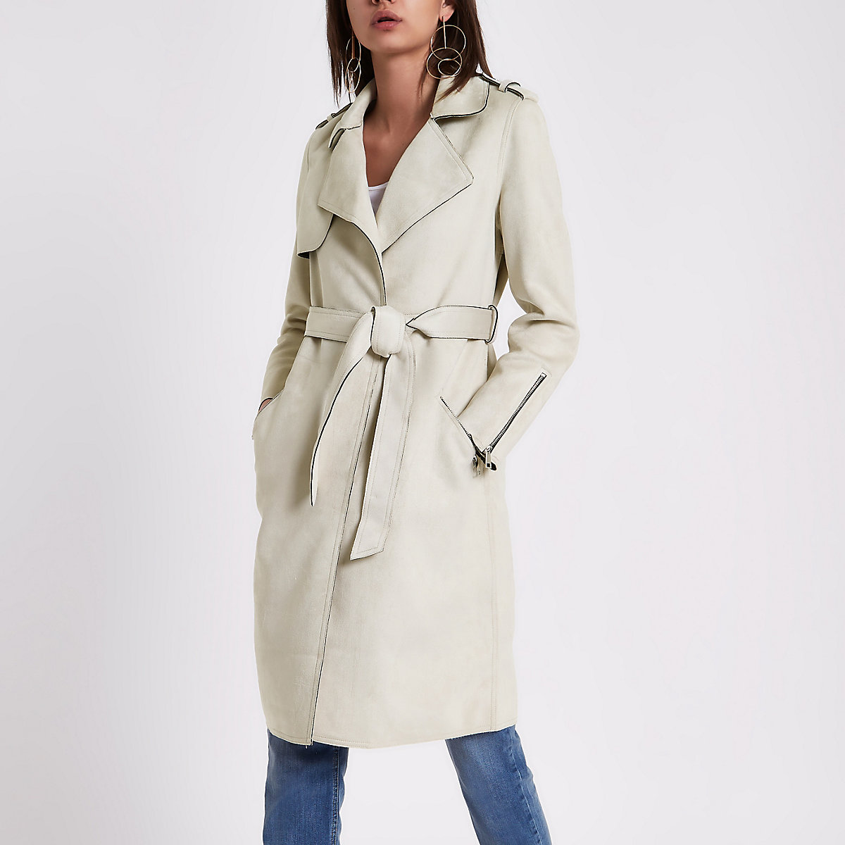Stone faux suede belted trench coat