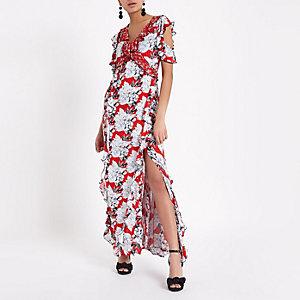 Robe longue portefeuille à fleurs rouge à volants