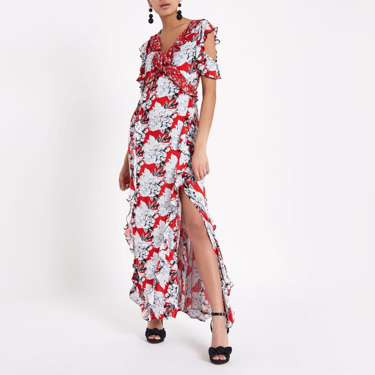 Red floral print frill wrap maxi dress
