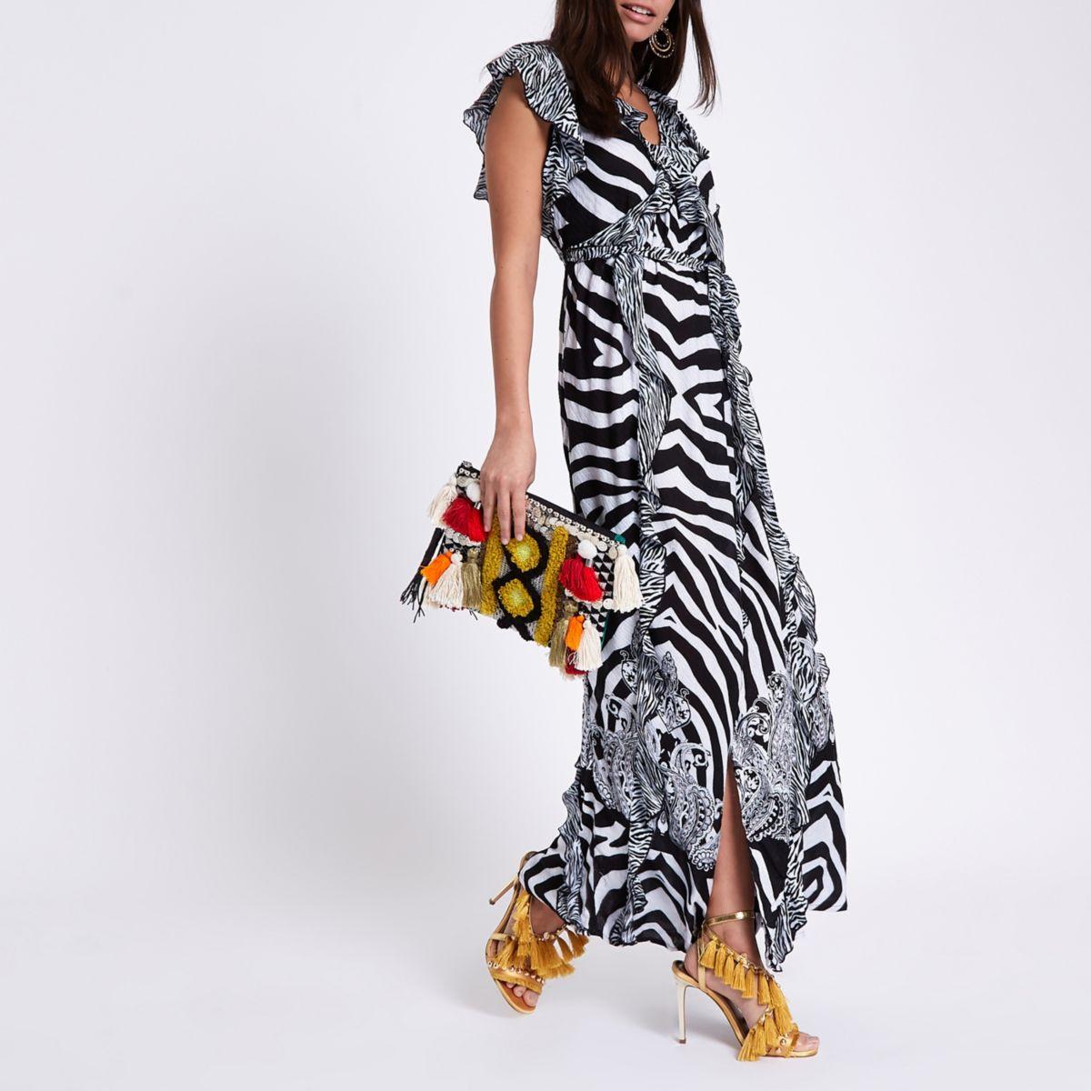 Black animal print frill wrap maxi dress