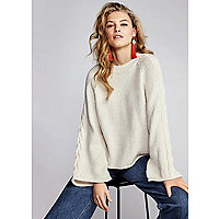Cream wide cable knit sleeve sweater