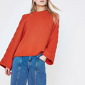 Red wide cable knit sleeve sweater