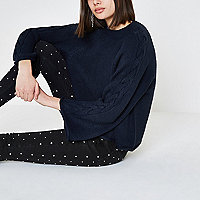 Navy cable knit wide sleeve jumper