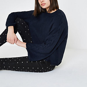 Navy cable knit wide sleeve sweater