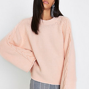 Light pink cable knit wide sleeve sweater
