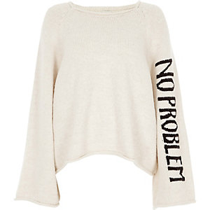 Cream wide sleeve 'no problem' jumper