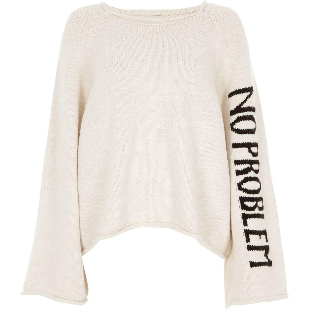 Cream wide sleeve 'no problem' jumper