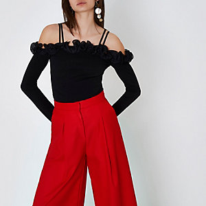 Black frill bardot long sleeve crop top