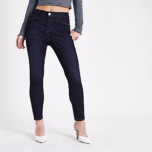 Petite dark blue Molly skinny jeans