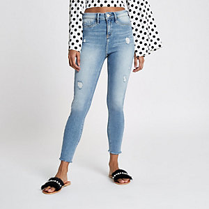 Petite light blue Molly distressed jeggings