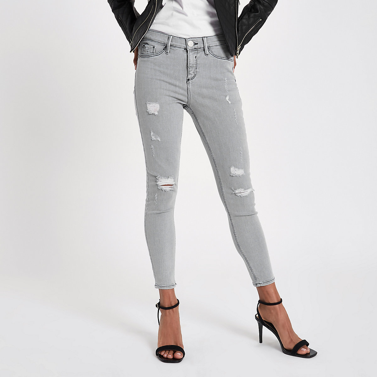 Petite grey Molly ripped skinny fit jeggings