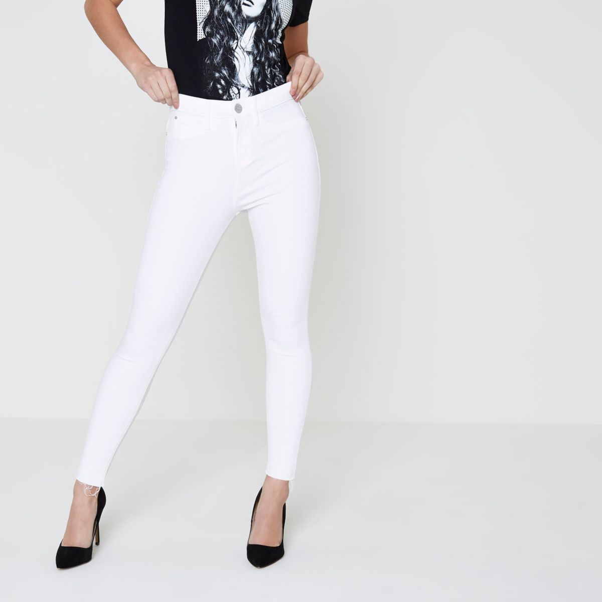 Petite white frayed hem Molly jeggings