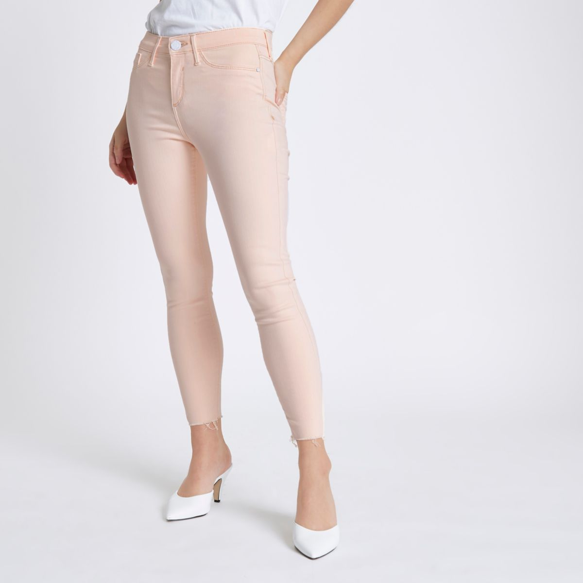 Petite light pink Molly skinny fit jeggings