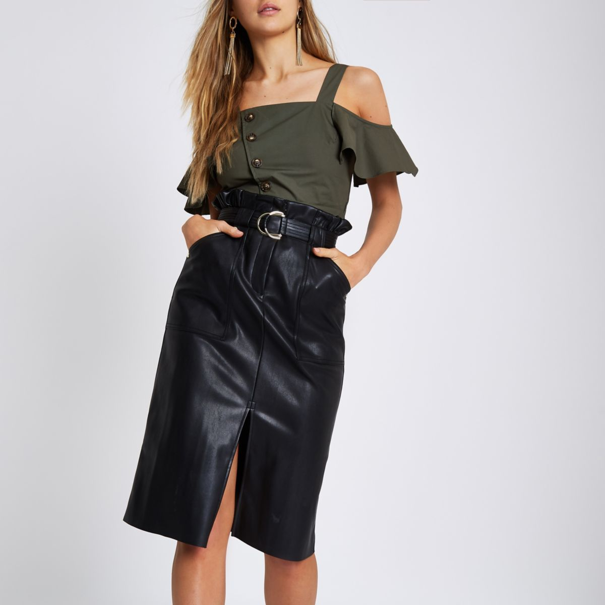 Black faux leather paperbag pencil skirt