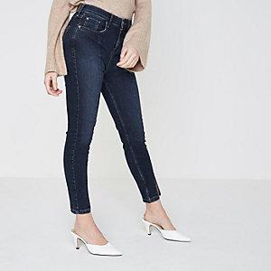 Petite dark blue split Amelie skinny jeans