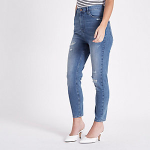 RI Petite - Harper - Blauwe skinny jeans met hoge taille