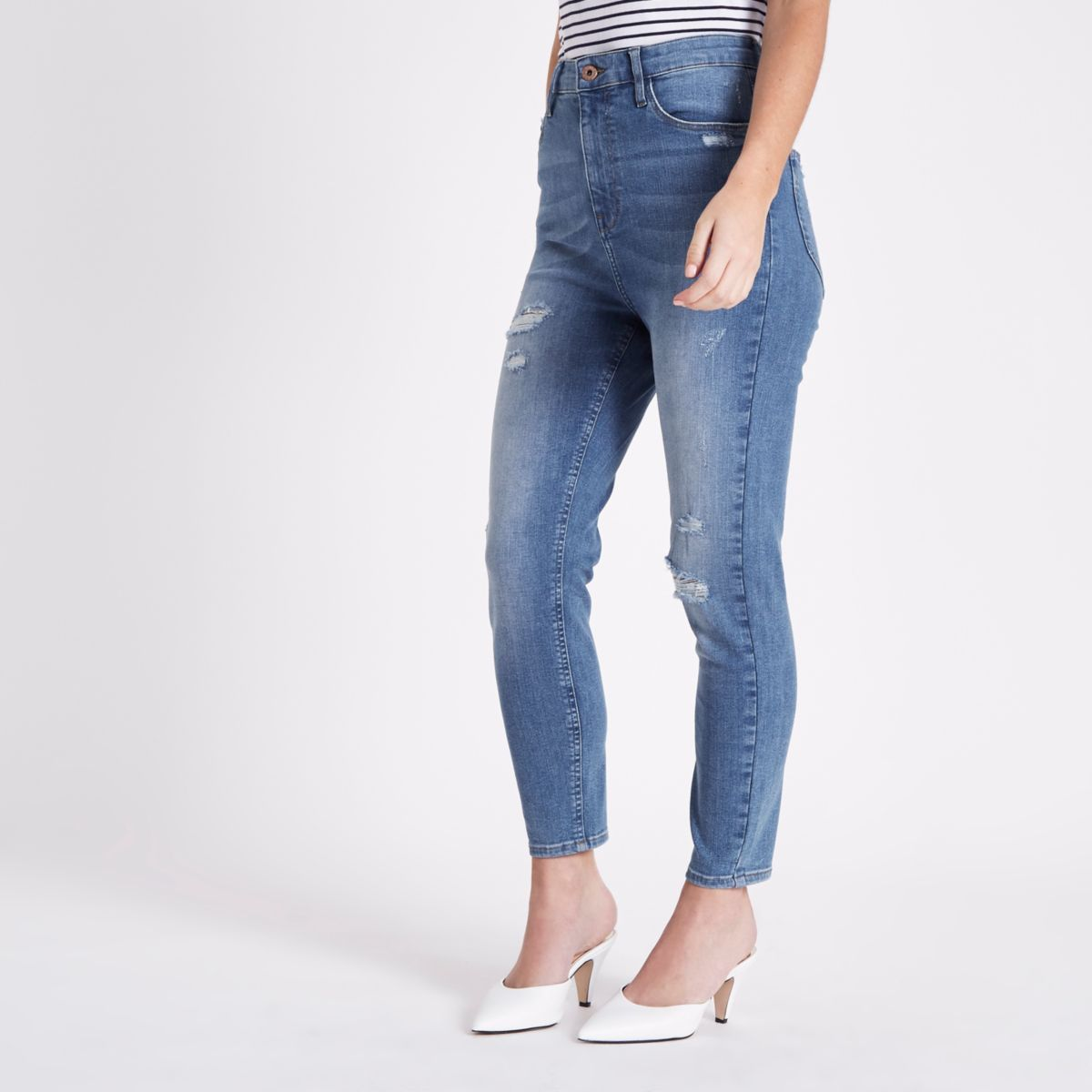Petite blue high waisted Harper skinny jeans