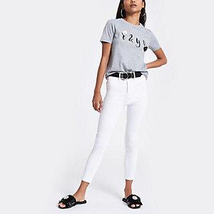 Petite – Harper – Weiße Skinny Jeans mit hohem Bund