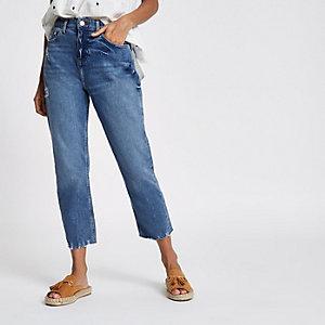 Petite – Bella – Blaue Straight Leg Jeans mit Fransensaum