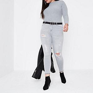 Plus – Top gris côtelé à manches longues