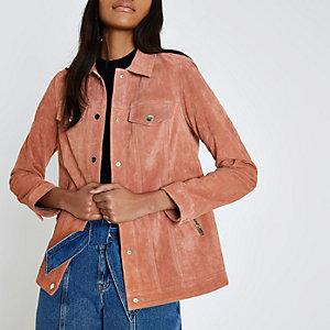 Dark pink suede trucker jacket