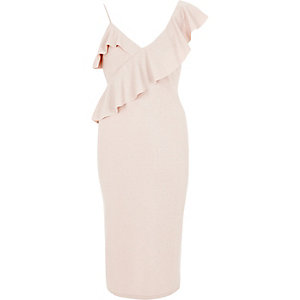 Light pink glitter frill shoulder midi dress