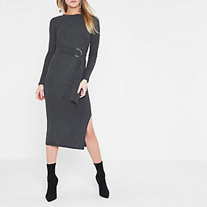 Grey rib ring tie belt midi dress