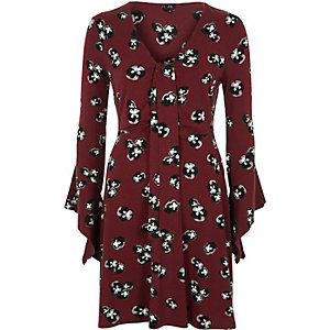Dark red floral knot panel front jersey dress