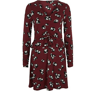 Dark red floral ruched frill jersey dress