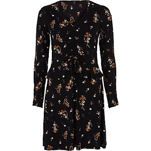 Black floral ruched frill front jersey dress