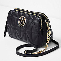 Black quilted chain cross body bag