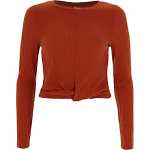 Dark orange rib long sleeve crop top